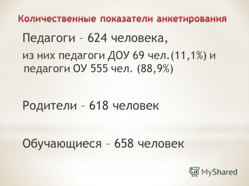 Педагоги – 624 человека, из них педагоги ДОУ 69 чел.(11,1%) и педагоги ОУ 555 чел. (88,9%) Родители – 618 человек Обучающиеся – 658 человек