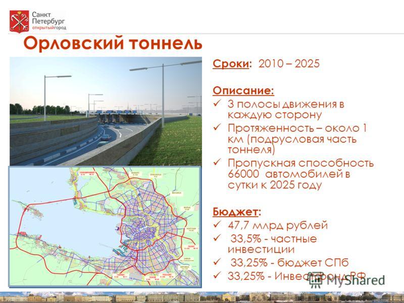 Орловский тоннель Сроки: 2010 – 2025 Описание: 3 полосы движения в каждую сторону Протяженность – около 1 км (подрусловая часть тоннеля) Пропускная способность 66000 автомобилей в сутки к 2025 году Бюджет: 47,7 млрд рублей 33,5% - частные инвестиции