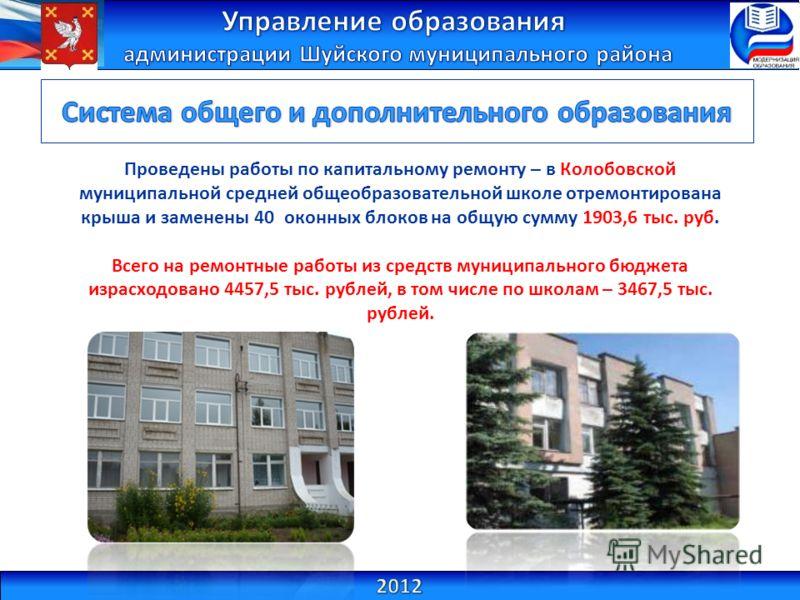 Проведены работы по капитальному ремонту – в Колобовской муниципальной средней общеобразовательной школе отремонтирована крыша и заменены 40 оконных блоков на общую сумму 1903,6 тыс. руб. Всего на ремонтные работы из средств муниципального бюджета из
