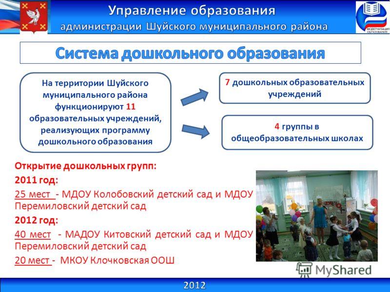 На территории Шуйского муниципального района функционируют 11 образовательных учреждений, реализующих программу дошкольного образования 7 дошкольных образовательных учреждений 4 группы в общеобразовательных школах Открытие дошкольных групп: 2011 год: