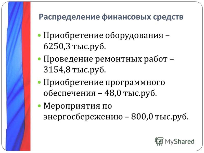 Распределение финансовых средств Приобретение оборудования – 6250,3 тыс. руб. Проведение ремонтных работ – 3154,8 тыс. руб. Приобретение программного обеспечения – 48,0 тыс. руб. Мероприятия по энергосбережению – 800,0 тыс. руб.