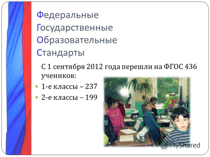 Федеральные Государственные Образовательные Стандарты С 1 сентября 2012 года перешли на ФГОС 436 учеников : 1- е классы – 237 2- е классы – 199