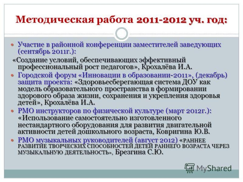 2011-2012 уч. год: Методическая работа 2011-2012 уч. год: Участие в районной конференции заместителей заведующих (сентябрь 2011г.): Участие в районной конференции заместителей заведующих (сентябрь 2011г.): «Создание условий, обеспечивающих эффективны