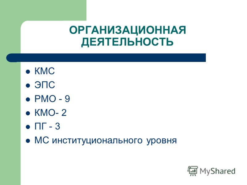 ОРГАНИЗАЦИОННАЯ ДЕЯТЕЛЬНОСТЬ КМС ЭПС РМО - 9 КМО- 2 ПГ - 3 МС институционального уровня