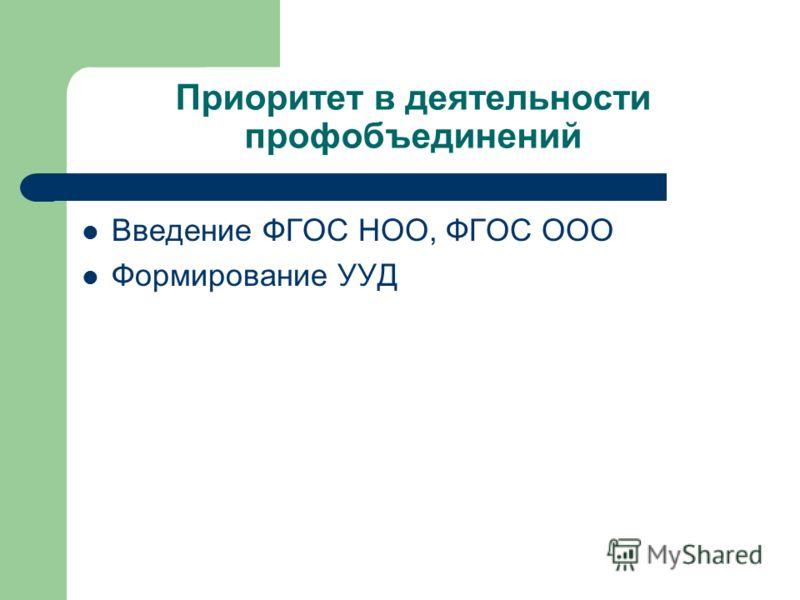 Приоритет в деятельности профобъединений Введение ФГОС НОО, ФГОС ООО Формирование УУД