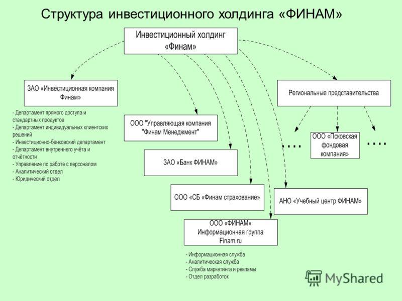 Структура инвестиционного холдинга «ФИНАМ»