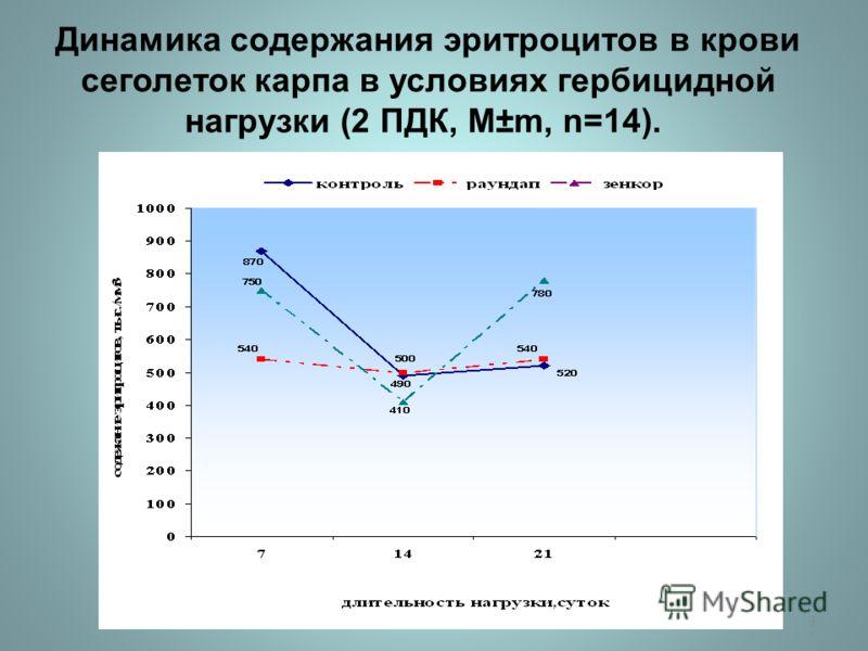 Динамика содержания эритроцитов в крови сеголеток карпа в условиях гербицидной нагрузки (2 ПДК, М ±m, n=14). 3