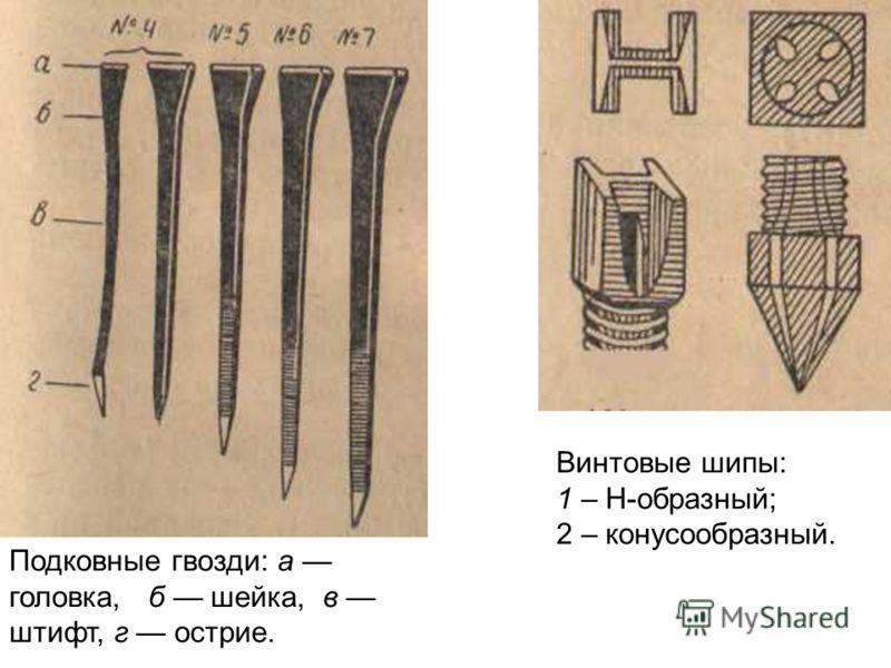 Винтовые шипы: 1 – Н-образный; 2 – конусообразный. Подковные гвозди: а головка, б шейка, в штифт, г острие.