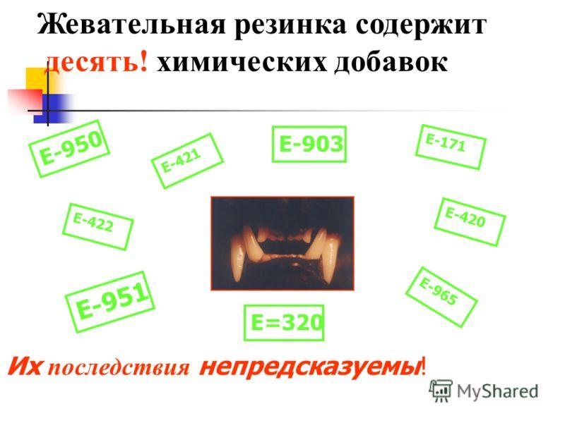 Их последствия непредсказуемы! Жевательная резинка содержит десять! химических добавок Е-171 Е-422 Е-421 Е-420 Е-965 Е-951 Е-950 Е-903 Е=320
