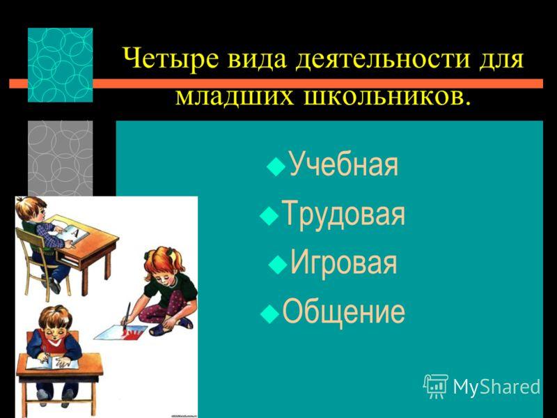 Четыре вида деятельности для младших школьников. Учебная Трудовая Игровая Общение