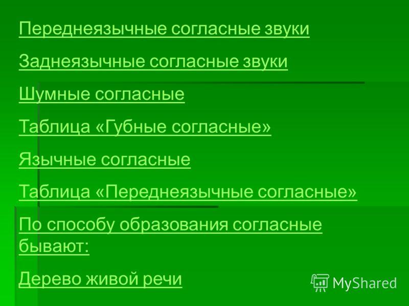 Переднеязычные согласные звуки Заднеязычные согласные звуки Шумные согласные Таблица «Губные согласные» Язычные согласные Таблица «Переднеязычные согласные» По способу образования согласные бывают: Дерево живой речи