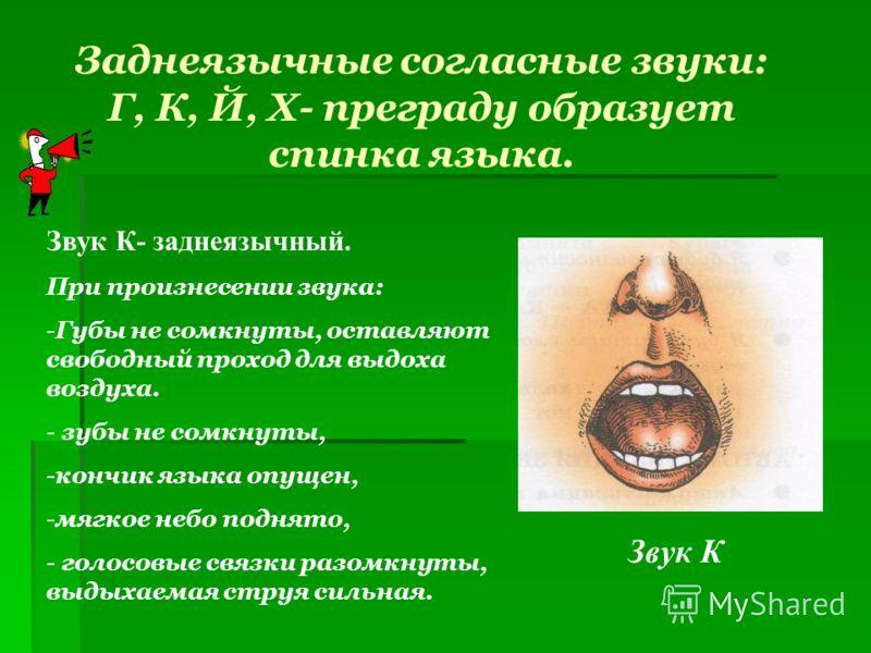 Заднеязычные согласные звуки: Г, К, Й, Х- преграду образует спинка языка. Звук К Звук К- заднеязычный. При произнесении звука: -Губы не сомкнуты, оставляют свободный проход для выдоха воздуха. - зубы не сомкнуты, -кончик языка опущен, -мягкое небо по