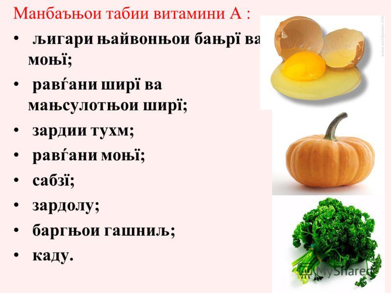 Манбаъњои табии витамини А : љигари њайвонњои бањрї ва моњї; равѓани ширї ва мањсулотњои ширї; зардии тухм; равѓани моњї; сабзї; зардолу; баргњои гашниљ; каду. Суточная потребность человека 2,5 мг