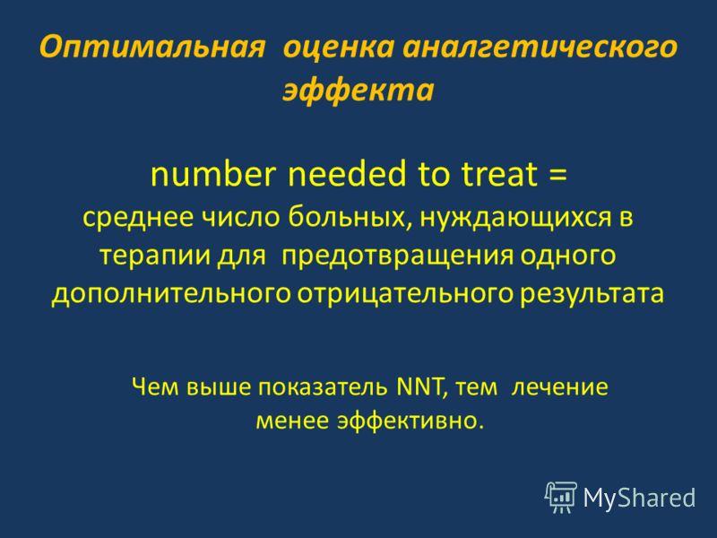 Оптимальная оценка аналгетического эффекта number needed to treat = среднее число больных, нуждающихся в терапии для предотвращения одного дополнительного отрицательного результата Чем выше показатель NNT, тем лечение менее эффективно.