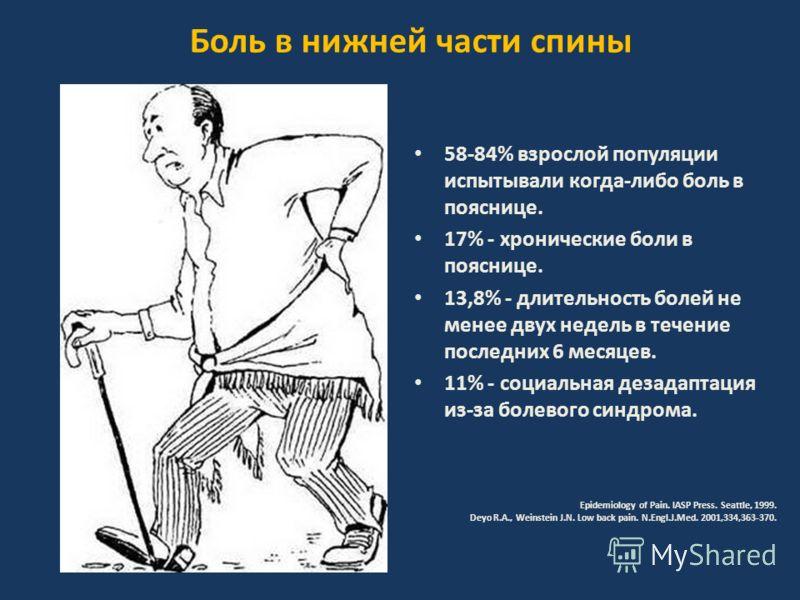 Боль в нижней части спины 58-84% взрослой популяции испытывали когда-либо боль в пояснице. 17% - хронические боли в пояснице. 13,8% - длительность болей не менее двух недель в течение последних 6 месяцев. 11% - социальная дезадаптация из-за болевого
