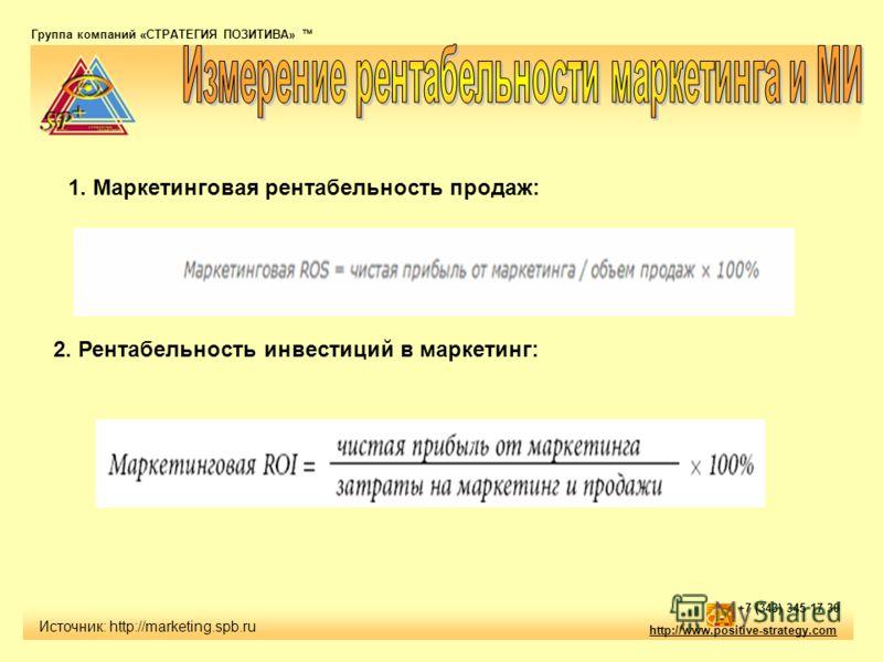 Группа компаний «СТРАТЕГИЯ ПОЗИТИВА» тм http://www.positive-strategy.com +7 (343) 345 17 30 Источник: http://marketing.spb.ru 1. Маркетинговая рентабельность продаж: 2. Рентабельность инвестиций в маркетинг: