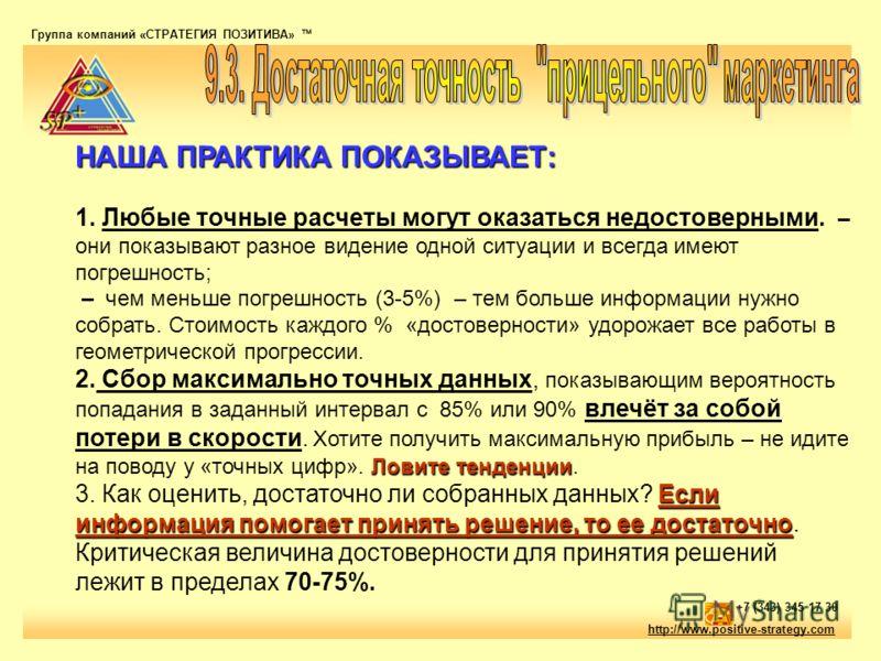 Группа компаний «СТРАТЕГИЯ ПОЗИТИВА» тм http://www.positive-strategy.com +7 (343) 345 17 30 НАША ПРАКТИКА ПОКАЗЫВАЕТ: Ловите тенденции Если информация помогает принять решение, то ее достаточно НАША ПРАКТИКА ПОКАЗЫВАЕТ: 1. Любые точные расчеты могут