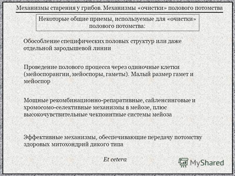 Механизмы старения у грибов. Механизмы «очистки» полового потомства Некоторые общие приемы, используемые для «очистки» полового потомства: Обособление специфических половых структур или даже отдельной зародышевой линии Проведение полового процесса че