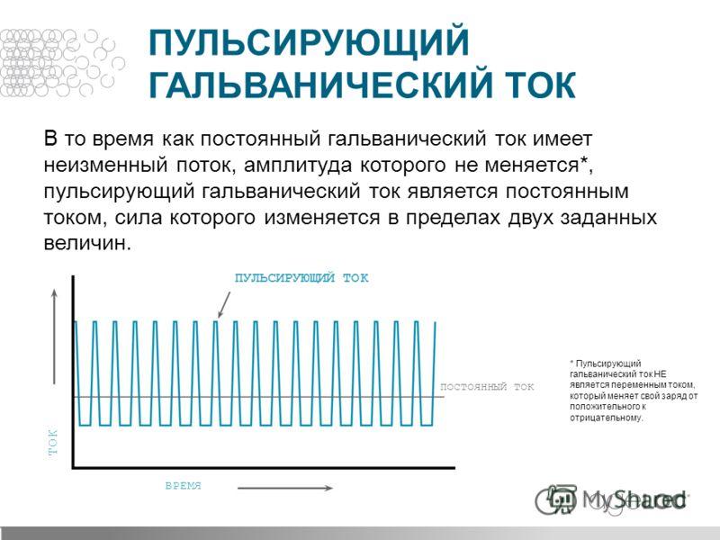 В то время как постоянный гальванический ток имеет неизменный поток, амплитуда которого не меняется*, пульсирующий гальванический ток является постоянным током, сила которого изменяется в пределах двух заданных величин. ПУЛЬСИРУЮЩИЙ ГАЛЬВАНИЧЕСКИЙ ТО