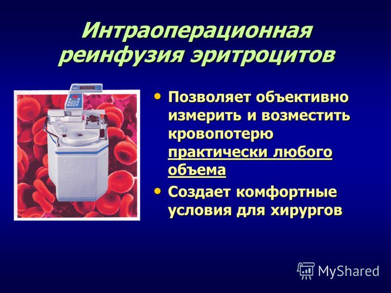 Интраоперационная реинфузия эритроцитов Позволяет объективно измерить и возместить кровопотерю практически любого объема Позволяет объективно измерить и возместить кровопотерю практически любого объема Создает комфортные условия для хирургов Создает
