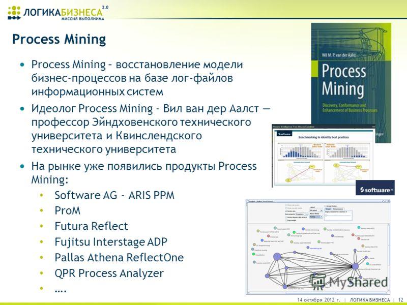 Process Mining Process Mining – восстановление модели бизнес-процессов на базе лог-файлов информационных систем Идеолог Process Mining - Вил ван дер Аалст профессор Эйндховенского технического университета и Квинслендского технического университета Н