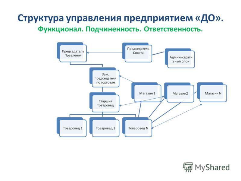 Структура управления предприятием «ДО». Функционал. Подчиненность. Ответственность.