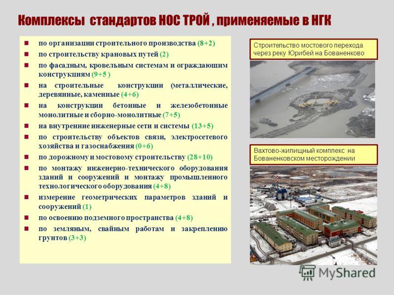 Комплексы стандартов НОС ТРОЙ, применяемые в НГК по организации строительного производства (8+2) по строительству крановых путей (2) по фасадным, кровельным системам и ограждающим конструкциям (9+5 ) на строительные конструкции (металлические, деревя