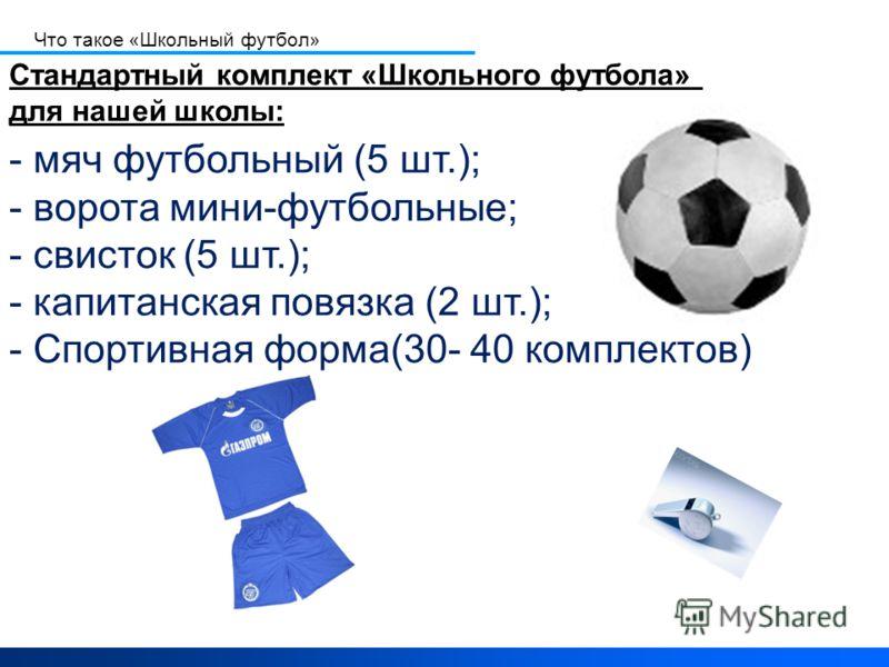 - мяч футбольный (5 шт.); - ворота мини-футбольные; - свисток (5 шт.); - капитанская повязка (2 шт.); - Спортивная форма(30- 40 комплектов) Стандартный комплект «Школьного футбола» для нашей школы: Что такое «Школьный футбол»