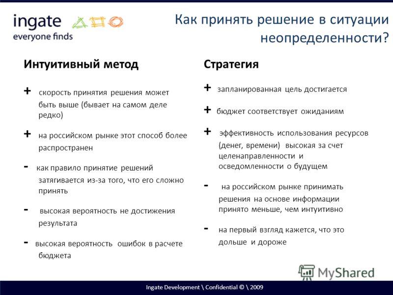 Интуитивный метод + скорость принятия решения может быть выше (бывает на самом деле редко) + на российском рынке этот способ более распространен - как правило принятие решений затягивается из-за того, что его сложно принять - высокая вероятность не д