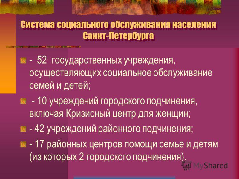 Система социального обслуживания населения Санкт-Петербурга - 52 государственных учреждения, осуществляющих социальное обслуживание семей и детей; - 10 учреждений городского подчинения, включая Кризисный центр для женщин; - 42 учреждений районного по