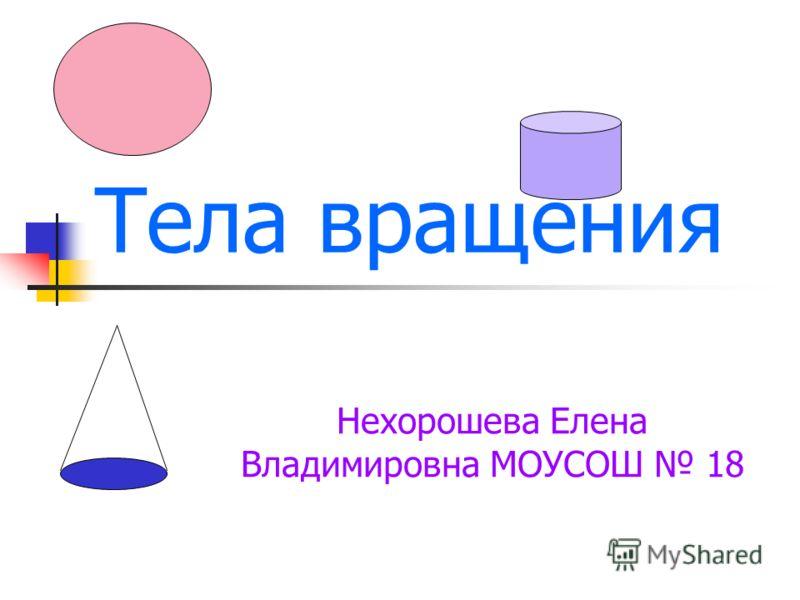 Тела вращения Нехорошева Елена Владимировна МОУСОШ 18