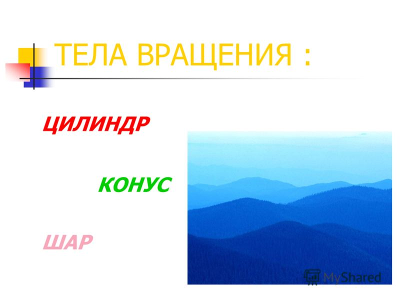 ТЕЛА ВРАЩЕНИЯ : ЦИЛИНДР КОНУС ШАР