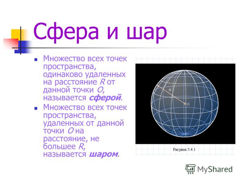 Сфера и шар Множество всех точек пространства, одинаково удаленных на расстояние R от данной точки O, называется сферой. Множество всех точек пространства, удаленных от данной точки O на расстояние, не большее R, называется шаром.