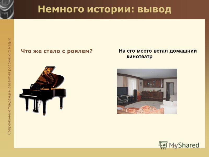 Современные тенденции развития российских медиа 29 Немного истории: вывод Что же стало с роялем? На его место встал домашний кинотеатр