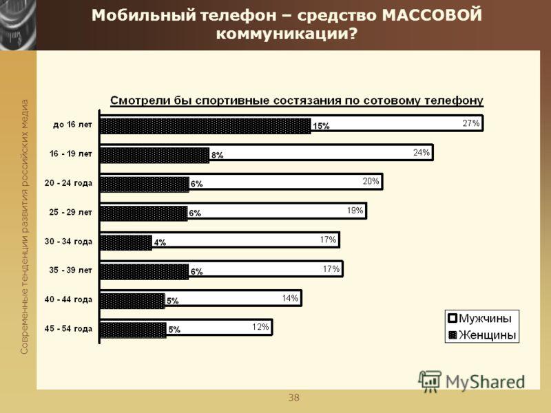 Современные тенденции развития российских медиа 38 Мобильный телефон – средство МАССОВОЙ коммуникации?