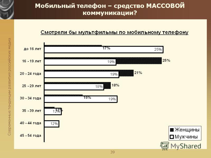 Современные тенденции развития российских медиа 39 Мобильный телефон – средство МАССОВОЙ коммуникации?