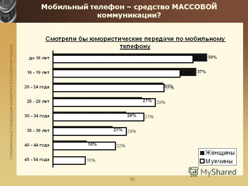 Современные тенденции развития российских медиа 40 Мобильный телефон – средство МАССОВОЙ коммуникации?