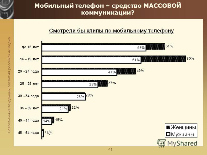 Современные тенденции развития российских медиа 41 Мобильный телефон – средство МАССОВОЙ коммуникации?