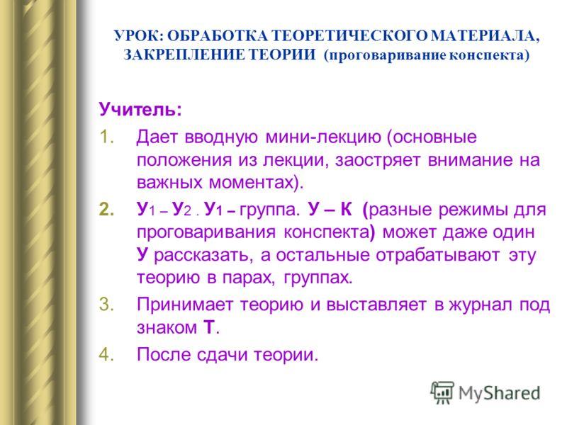 УРОК: ОБРАБОТКА ТЕОРЕТИЧЕСКОГО МАТЕРИАЛА, ЗАКРЕПЛЕНИЕ ТЕОРИИ (проговаривание конспекта) Учитель: 1.Дает вводную мини-лекцию (основные положения из лекции, заостряет внимание на важных моментах). 2.У 1 – У 2. У 1 – группа. У – К (разные режимы для про