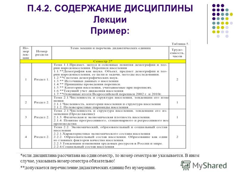 П.4.2. СОДЕРЖАНИЕ ДИСЦИПЛИНЫ Лекции Пример: *если дисциплина рассчитана на один семестр, то номер семестра не указывается. В ином случае, указывать номер семестра обязательно! **допускается перечисление дидактических единиц без нумерации.