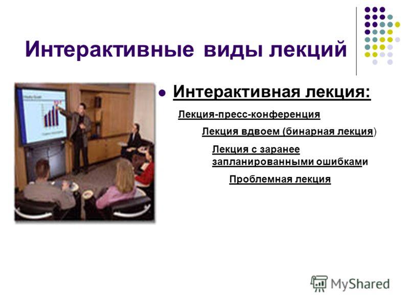 Интерактивные виды лекций Интерактивная лекция: Лекция-пресс-конференция Лекция вдвоем (бинарная лекция) Лекция с заранее запланированными ошибками Проблемная лекция