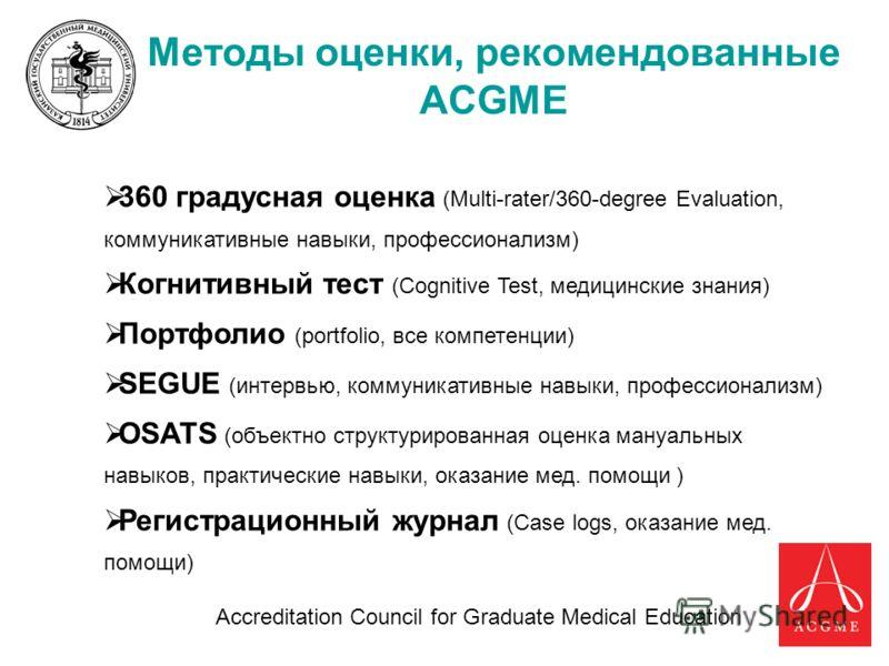 31 Методы оценки, рекомендованные ACGME 360 градусная оценка (Multi-rater/360-degree Evaluation, коммуникативные навыки, профессионализм) Когнитивный тест (Cognitive Test, медицинские знания) Портфолио (portfolio, все компетенции) SEGUE (интервью, ко