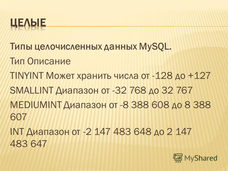 Типы целочисленных данных MySQL. Тип Описание TINYINT Может хранить числа от -128 до +127 SMALLINT Диапазон от -32 768 до 32 767 MEDIUMINT Диапазон от -8 388 608 до 8 388 607 INT Диапазон от -2 147 483 648 до 2 147 483 647