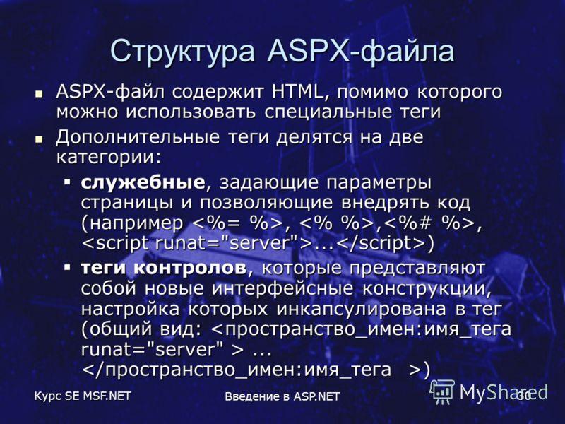 Курс SE MSF.NET Введение в ASP.NET 30 Структура ASPX-файла ASPX-файл содержит HTML, помимо которого можно использовать специальные теги ASPX-файл содержит HTML, помимо которого можно использовать специальные теги Дополнительные теги делятся на две ка