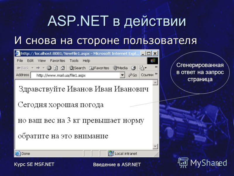 Курс SE MSF.NET Введение в ASP.NET 8 ASP.NET в действии И снова на стороне пользователя Сгенерированная в ответ на запрос страница
