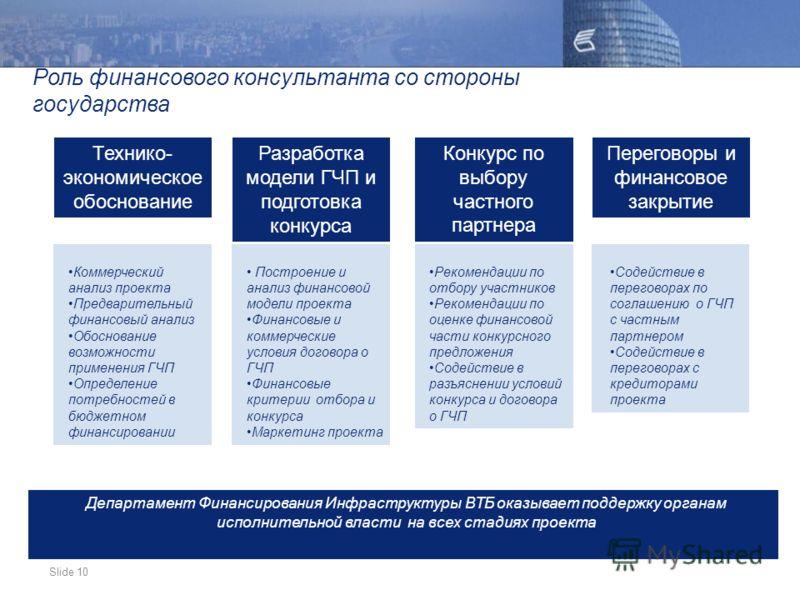 Slide 10 Роль финансового консультанта со стороны государства Коммерческий анализ проекта Предварительный финансовый анализ Обоснование возможности применения ГЧП Определение потребностей в бюджетном финансировании Технико- экономическое обоснование