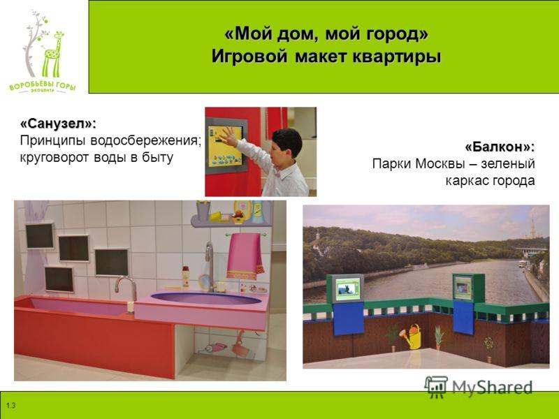 1.3 «Мой дом, мой город» Игровой макет квартиры «Санузел»: Принципы водосбережения; круговорот воды в быту «Балкон»: Парки Москвы – зеленый каркас города