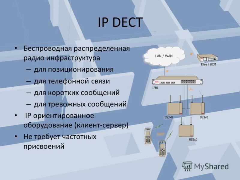 IP DECT Беспроводная распределенная радио инфраструктура – для позиционирования – для телефонной связи – для коротких сообщений – для тревожных сообщений IP ориентированное оборудование (клиент-сервер) Не требует частотных присвоений