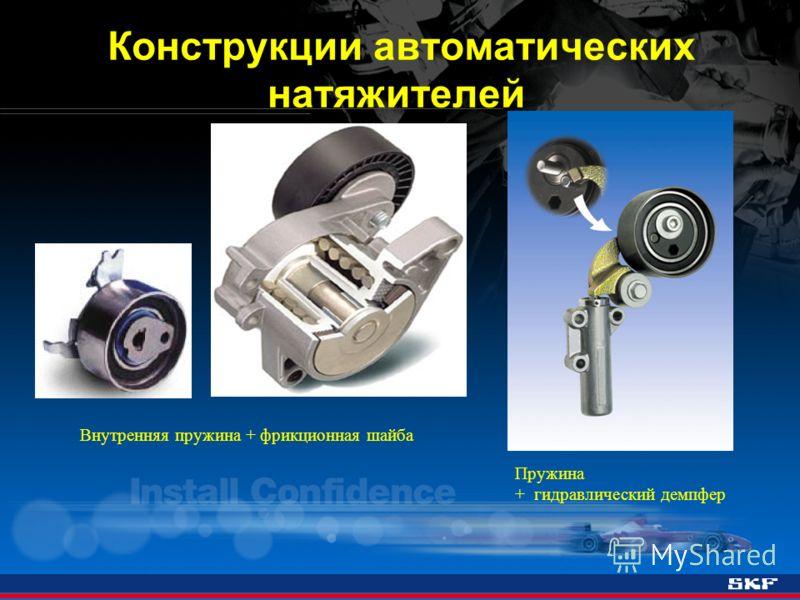 Внутренняя пружина + фрикционная шайба Конструкции автоматических натяжителей Пружина + гидравлический демпфер