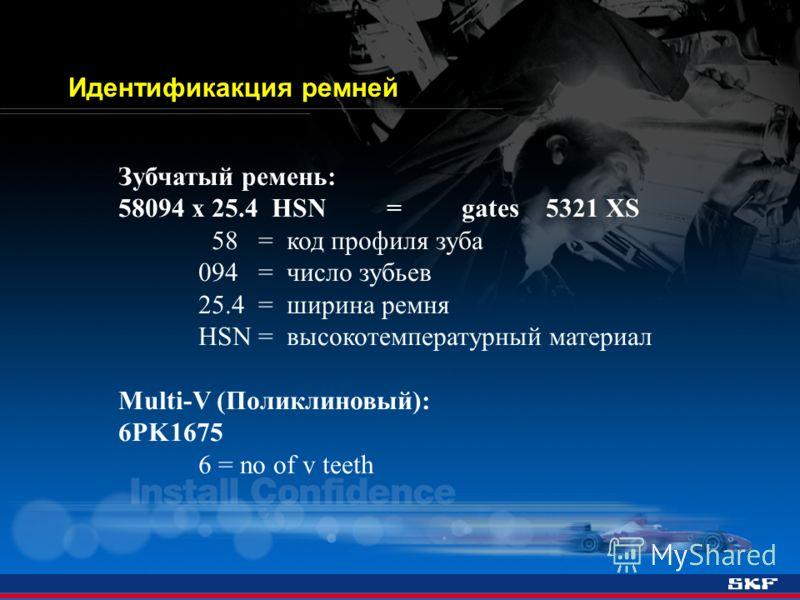 Зубчатый ремень: 58094 x 25.4 HSN = gates 5321 XS 58 = код профиля зуба 094 = число зубьев 25.4 = ширина ремня HSN = высокотемпературный материал Multi-V (Поликлиновый): 6PK1675 6 = no of v teeth Идентификакция ремней